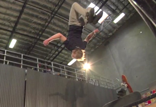 Adam Miller does the first ever gainer backflip from one skateboard to another down a flight of six stairs!