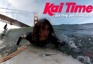 Kai The Homefree Hitchhiker goes surfing in San Francisco courtesy of eBaum's World!