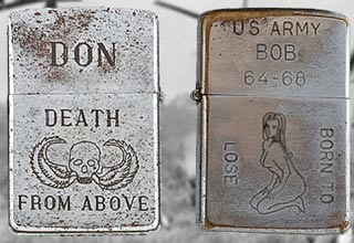 Last year, Cowan's Auctions put up a lot of 282 Vietnam War-era Zippo lighters featuring personalized and anonymous engravings chosen by U.S. soldiers, sailors, and airmen during deployment. The collection was compiled by American artist Bradford Edwards over several years in the 1990s, on-site in Vietnam. The collection sold for 35,250 in 2012.