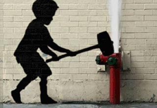 "An Artist called <a href=""http://ebaum.it/1huZGCa"" target=""_blank"">ABVH</a> has created animated gifs from some of Banksy's graffiti works."
