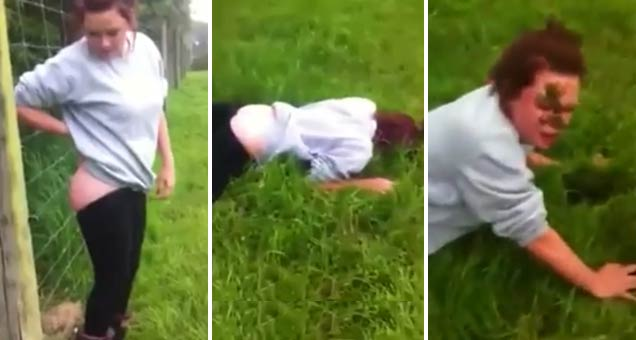 girl pees on electric fence