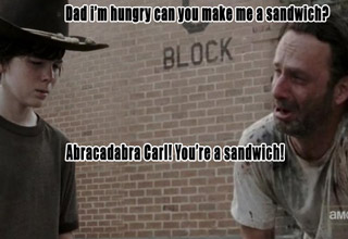 The Walking Dead's favorite dad Rick Grimes making classic bad dad jokes while trying to cheer Carl and Lori up.