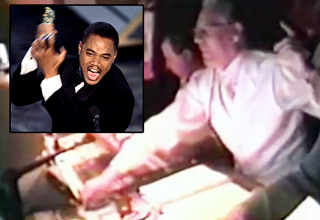 A look inside the TV truck during Cuba Gooding Jr's 1996 Oscar acceptance speech.