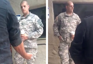 Two Veterans one being a former ranger, call out soldier wearing fake Ranger, E.O.D., and 101st airborne tabs.