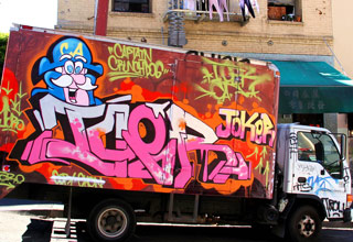 Trucks all over the city that have been turned into moving works of art!