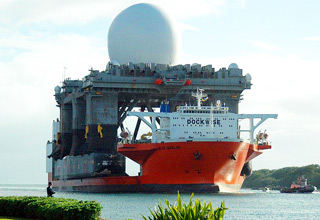 The Blue Marlin is a semi-submerging vessel capable of lifting and transporting huge ships.