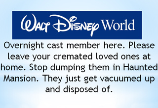 Who the hell would dump the ashes of their dead family members in a Disney World ride?