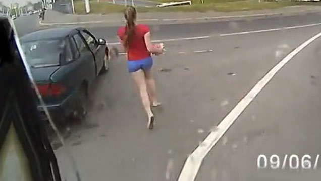 Hit Favorites School Days: Russian Girl Almost Gets Hit By Bus