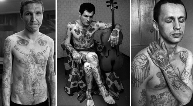 Prisoners without tattoos are looked down upon. They are viewed as white sheep in a black herd. Tattoos tell the prisoners' stories, their world-views and group affiliations; and some tattoos indicate rank, accomplishment, and prestige in this walled-in segment of Russia's underbelly.