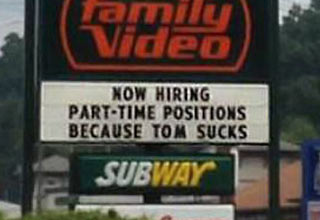 The one thing we know is that each of these places are now hiring for a sign maker position.