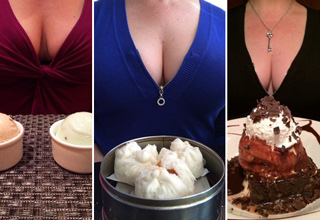 Yelp reviewer Charlie C. cant help putting his wife's cleavage in every food shot he posts.