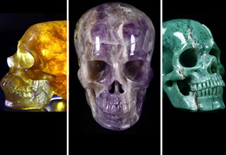 Beautiful skulls made from different minerals.