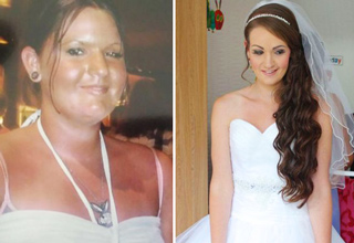 25 year old Kirsty Thomas found her perfect wedding dress and wouldn't let anything stand in her her way from wearing it on her special day. When she learned that the dress was only made in a size four sizes smaller than she was at the time, she bought it and pledged to lose the weight. Nine months later she had lost an incredible 95 pounds.