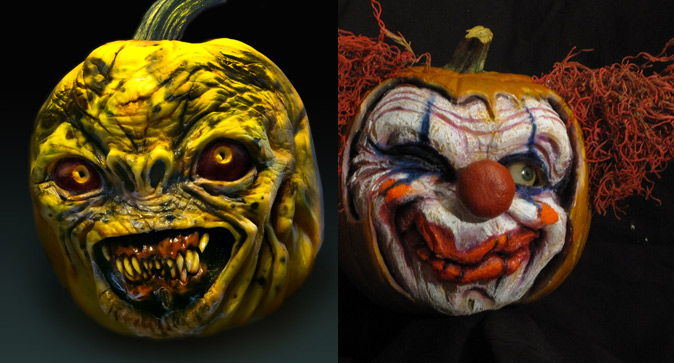 One of these Jack-O-Lanterns on someone's porch would totally freak you out.