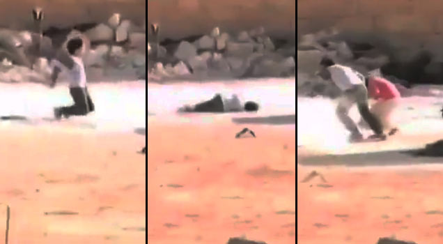 Syrian Boy Risks His Life To Save Little Girl - Video -8090