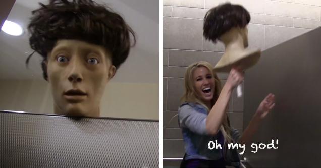 Girls Peeking Into Bathroom Stalls Prank - Pranks Video ...