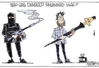 From around the world, political cartoonists react to the Charlie Hebdo shooting.