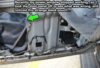The car's electric window stopped working, so like any man he took it apart to see what was wrong...