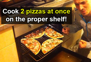 cook 2 pizzas at once on the proper shelf