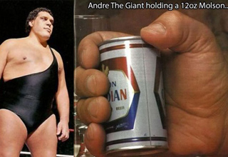 andre the giant holding a 12oz molson