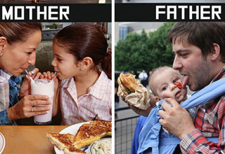 A comparison of how moms and dads do it.