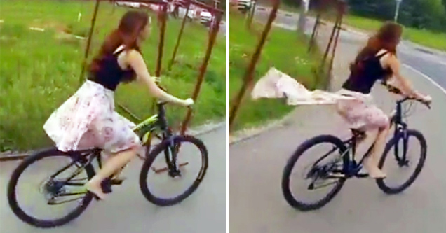 Cycling Girl Loses Her Skirt Funny Video EBaums World