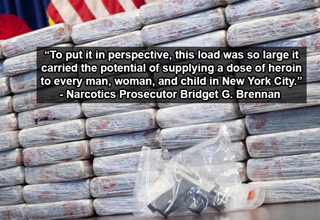 The 150 pounds of heroin was the largest seizure ever recorded by the DEA in New York state.