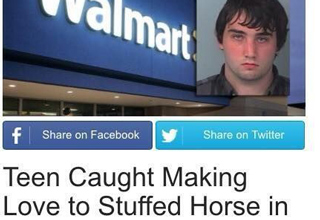 teen caught making love to stuffed horse in walmart