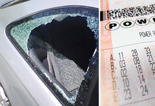 smashed car window and lotto ticket