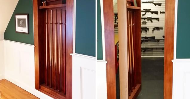 14 Awesome Hidden Passages For The Rich | hidden gun safe - Teht brown paneled wood door leads to the secret passage