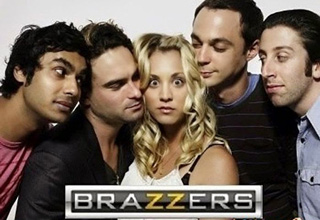 The Brazzers logo turns every photo into a sexualized movie scene.