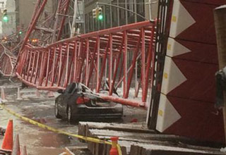 13 Images that show the devastation caused by the crane that fell in Lower Manhattan.