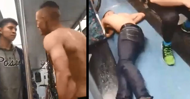a shirtless man arguing with a passenger and then laying on the ground passed out