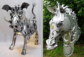 British artist Ptolemy Elrington collects thousands of old abandoned hubcaps from all across Britain to make these cool one of a kind sculptures.