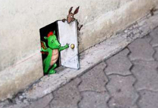 David Zinn's chalk art brings his characters to life.