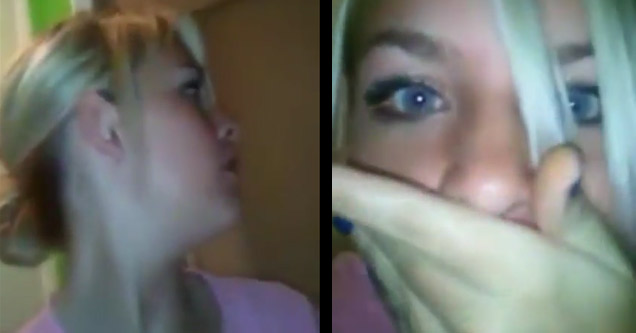 a blonde haired girl making funny faces when sex noises come from her moms room | sisters film a video of the sexual sounds coming from their mothers room