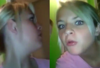 a blonde haired girl making funny faces when sex noises come from her moms room