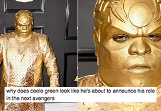 "A lot of weirdness went down at the Grammy's last night, but Ceelo's gold Doctor Doom look was the epitome of ""WTF?"""