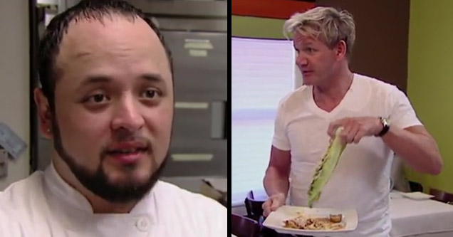 a dopey looking chef and gordon ramsay holding grilled lettuce
