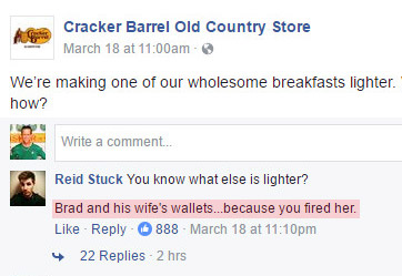 The internet rallies around a recently terminated Cracker Barrel employee.