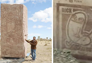 In the middle of the desert in Spain, there is a giant pillar depicting some of the Internet's most iconic memes for future generations, including, philosophising dinosaur, Pico Taro, dick-butt and more.