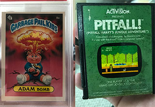 Garbage Pail Kids and Pitfall from 80s vintage memorabilia