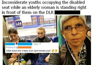 woman shaming youths for not giving up her seat called out for neglecting the empty seat right next to them