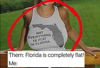 Girl with shirt that proves not everything is flat in Florida