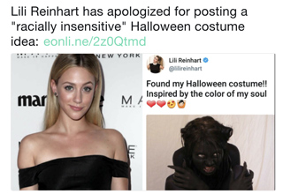 Lili Reinhart had to apologize for her Halloween costume