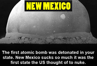 funny pics to piss of each state | big yec - New Mexico The first atomic bomb was detonated in your state. New Mexico sucks so much it was the first state the Us thought of to nuke.