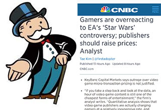 What's the best way to deal with overpriced games? According to CNBC it's fighting fire by making it bigger.