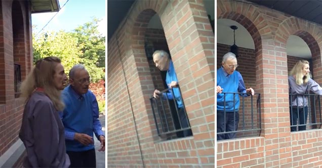 stills from video of old man and woman watching from windows | bad neighbors create chaos with their construction
