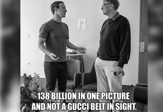 a black and white photo of facebook creator mark zuckerburg talking to windows creator bill gates  with text on it.