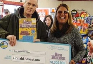 old man holding a check after winning the lottery but he died shortly after